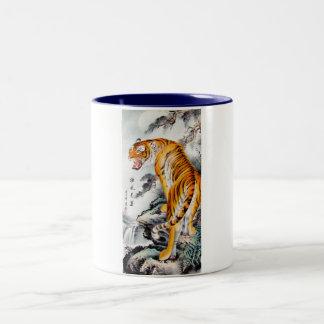 Tinta mullida china oriental fresca de la acuarela taza de café de dos colores
