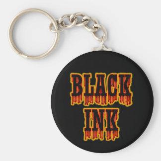 Tinta negra llavero redondo tipo pin