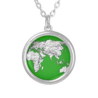 tinta verde clara del mapa del mundo del atlas que joyeria personalizada