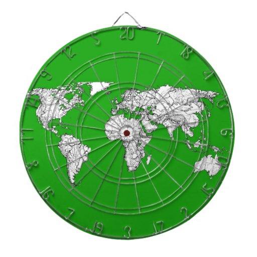 tinta verde clara del mapa del mundo del atlas que tablero de dardos