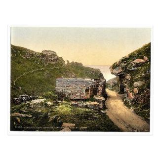 Tintagel, King Arthur's Castle from valley, I, Cor Postcard