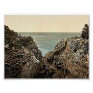 Tintagel, King Arthur's Castle from valley, II, Co Poster