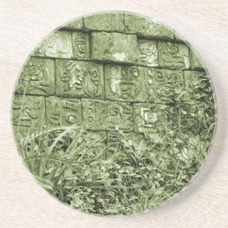 tinte azteca antiguo del verde de la reproducción  posavasos cerveza