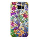 Tinte floral retro colorido del collage 4-Purple Fundas Samsung Galaxy S6