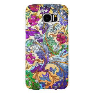 Tinte floral retro colorido del collage 4-Purple