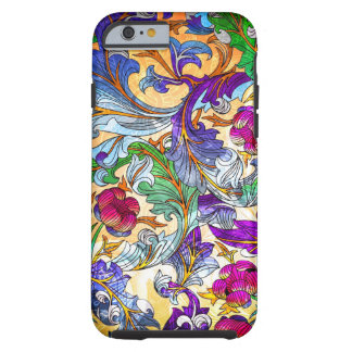 Tinte floral retro colorido del collage 4-Purple Funda De iPhone 6 Tough
