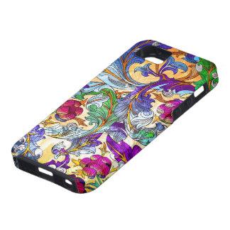 Tinte floral retro colorido del collage 4-Purple iPhone 5 Funda