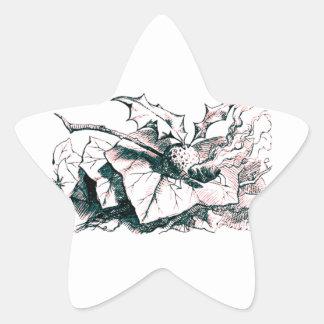 Tinte rápido del rosa de la libélula del país de pegatina en forma de estrella