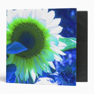 Tinted Blue Sunflower 3 Ring Binder