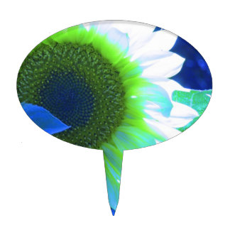 Tinted Blue Sunflower Cake Topper
