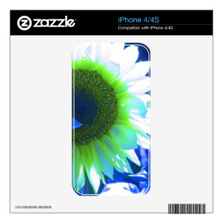 Tinted Blue Sunflower Decal For The iPhone 4