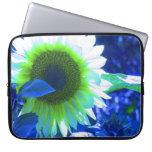 Tinted Blue Sunflower Laptop Sleeve