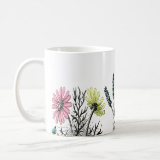 tinted flowers classic white coffee mug