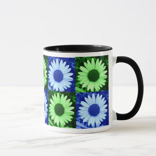 Tinted Green and Blue Sunflower Mug