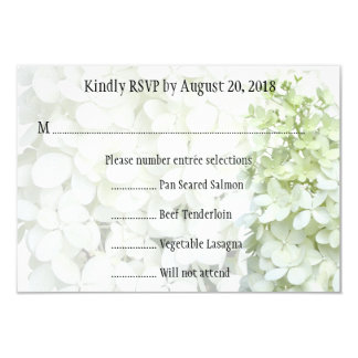 Tinted Green White Floral Wedding RSVP Card