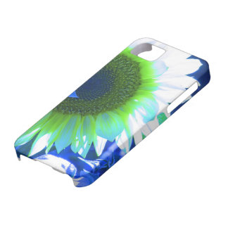 tinted pretty sunflower - blue iPhone SE/5/5s case