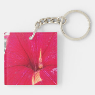 Tinted Red Petunia Keychain