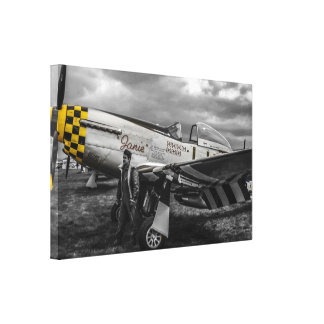 Tinted WWII N American P51 Mustang Fighter Plane Canvas Print