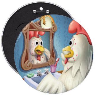 Tintineo del tintineo poco botón colosal del pollo pin redondo de 6 pulgadas