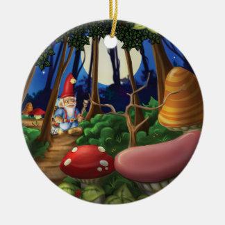 Tintineo del tintineo poco ornamento del gnomo adorno navideño redondo de cerámica
