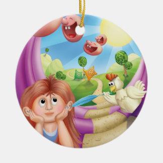 Tintineo del tintineo poco ornamento feliz del adorno navideño redondo de cerámica