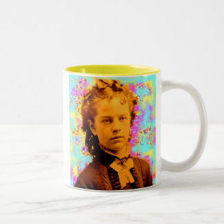 tintype girl yellow Two-Tone coffee mug