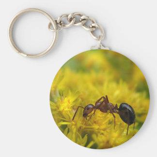 Tiny Ant on Goldenrod Keychain
