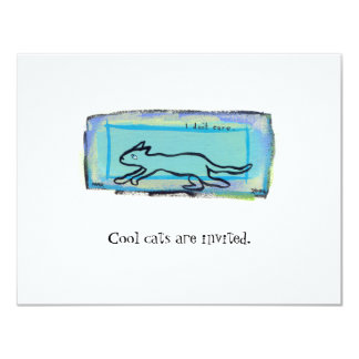 Tiny Art #397 - I Don't Care Cat  fun original art Card