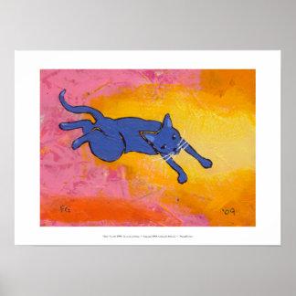 Tiny Art #595 - An awkward leap - fun cat ART Poster