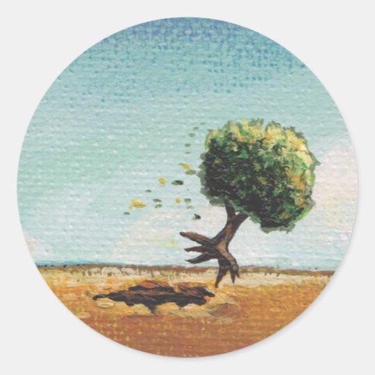 Tiny Art #601 Fun flying tree art adventure travel Classic Round Sticker
