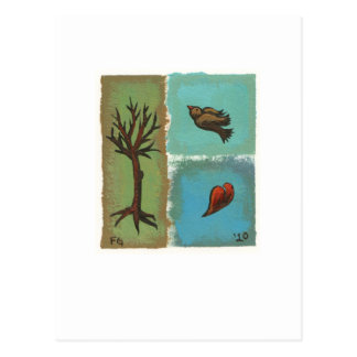 Tiny Art # 606 - Tree, Bird, Heart - painting art Postcard