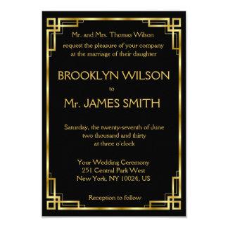 Tiny Art Deco Black And Gold Wedding Invitations