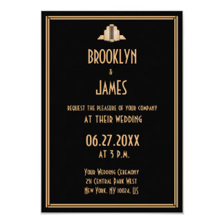 tiny art deco black great gatsby wedding invites - Great Gatsby Wedding Invitations