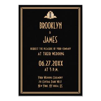 Tiny Art Deco Black Great Gatsby Wedding Invites