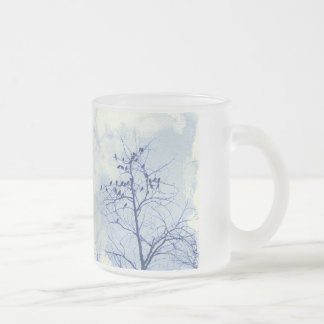 Tiny Birdies in the Treetop 10 Oz Frosted Glass Coffee Mug