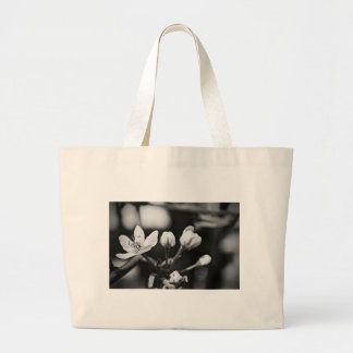Tiny Black and White Flower Large Tote Bag