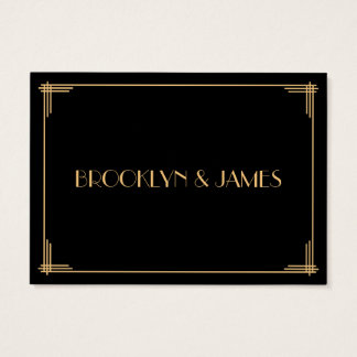 Tiny Black Gold Great Gatsby Art Deco Wedding RSVP Business Card