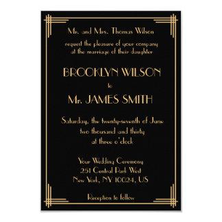 Tiny Black Great Gatsby Art Deco Wedding Invites