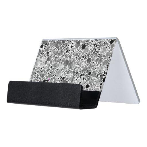 Tiny Black Grey Bling Pattern Desk Business Card Holder