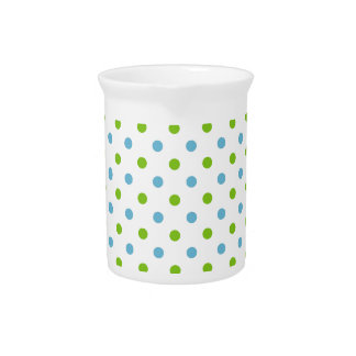 Tiny Blue and Green Polka Dots on White Beverage Pitcher