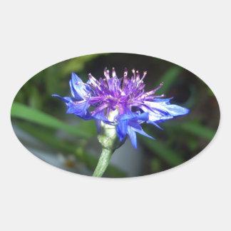 Tiny Blue and Violet Blossom Oval Sticker
