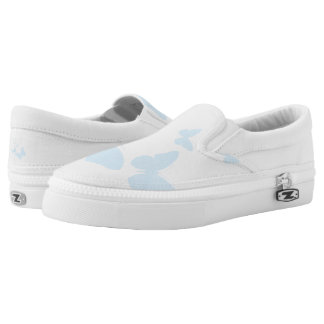Tiny blue butterfly slip on printed shoes