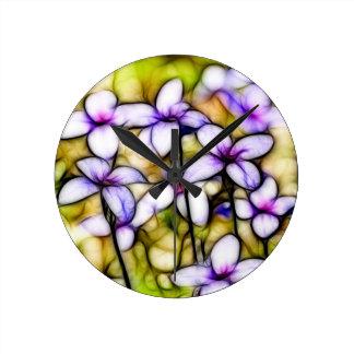 Tiny Bluet Wildflower Batik Art Round Wallclocks