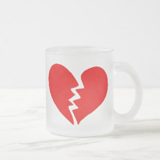 Tiny Broken Heart Frosted Glass Coffee Mug