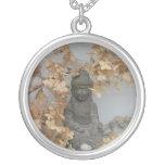 Tiny Buddha Round Pendant Necklace