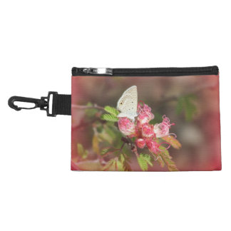 Tiny Butterfly on Pink Flower Accessory Bag