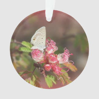 Tiny Butterfly on Pink Flower Ornament
