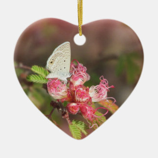 Tiny Butterfly on Pink Flower Christmas Tree Ornaments