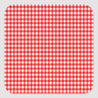 tiny check red and white Gingham Square Sticker