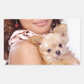 Tiny Chihuahua Shares Hair II Rectangular Sticker